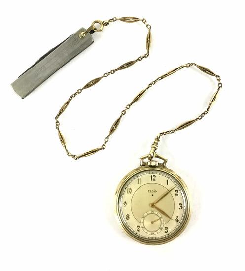 C.1938 Elgin 17j Pocket Watch 10k Gold Filled Case