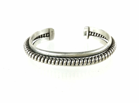 Nora Tahe Navajo Sterling Coil Cuff Bracelet