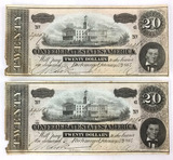 (2) 1864 Confederate States Of America $20