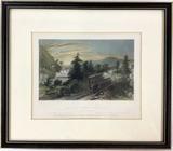 W H Bartlett Etching Railroad Scene, Little Falls