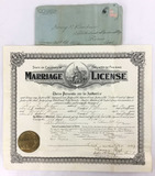 1907 State Of California Marriage License
