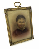 Antique Hand Painted Portrait In Frame