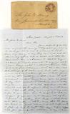 1859 Letter & Envelope W/ 3 Cent Stamp Cancel