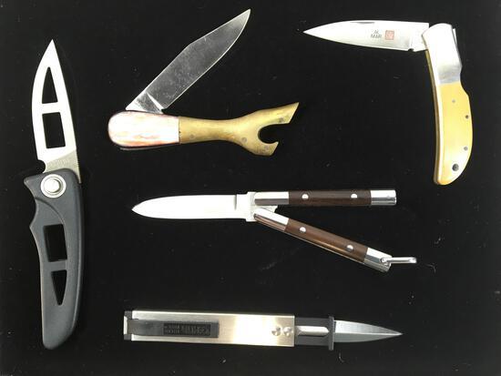 Display Case Of (5) Assorted Pocket Knives, Al Mar