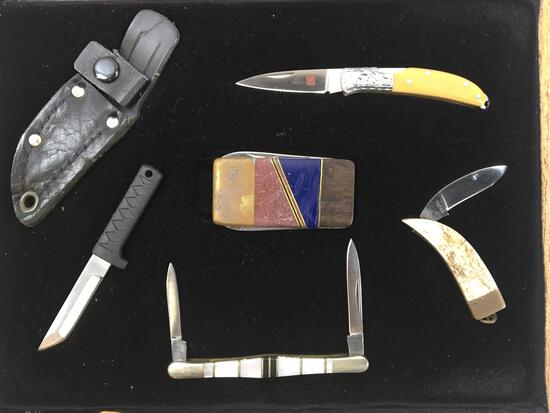 Display Case Of (5) Mini Pocket Knives, Al Mar