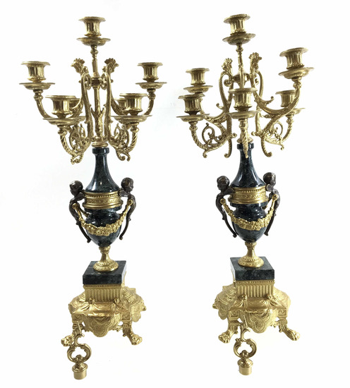 Pair Of Classical Brass & Marble Candelabras