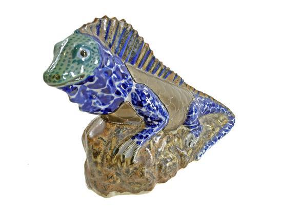 Sergio Bustamante Brass Clad Pottery Iguana