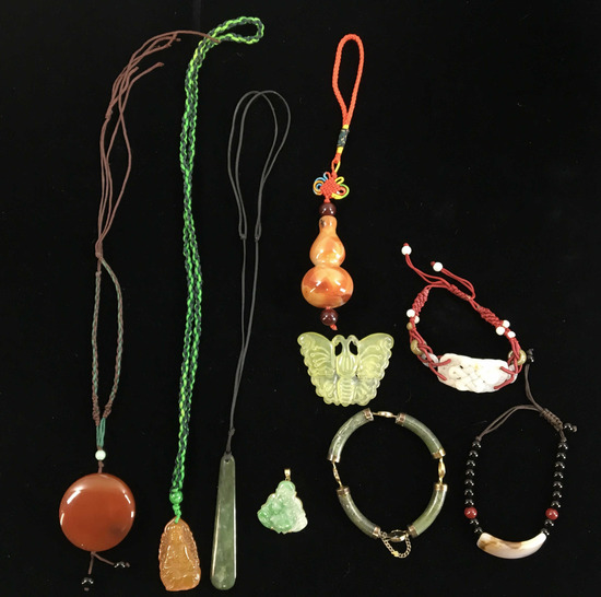 Jade & Carved Stone Pendants, Bracelets