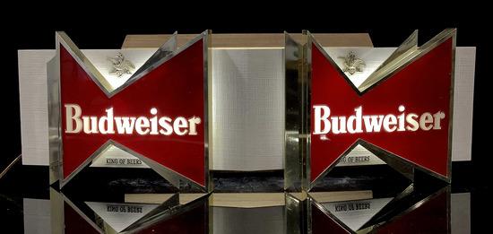 Budweiser Illuminated Advertising Bar Sign