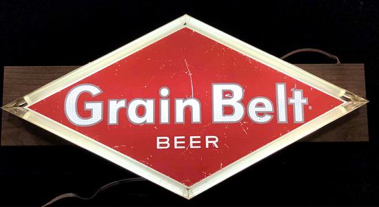 Vintage Grain Beer Advertising Illuminated Bar Sign