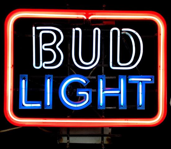 Bud Light Neon Advertising Bar Sign