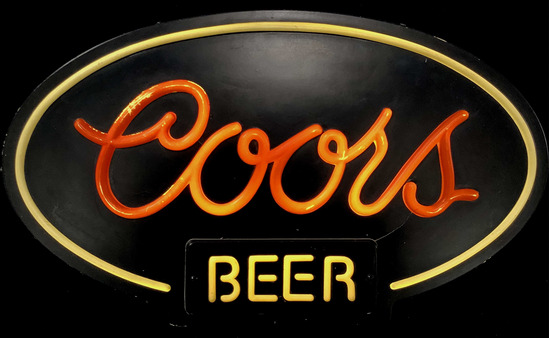 Coors Beer Illuminated Advertising Bar Sign
