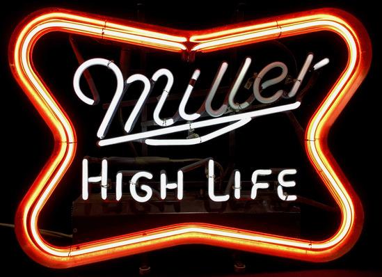Miller High Life Beer Advertising Neon Bar Sign