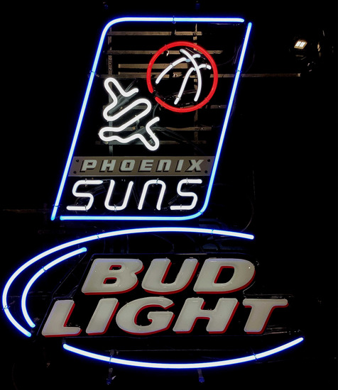 Bud Light, Phoenix Suns Basketball Neon Bar Sign
