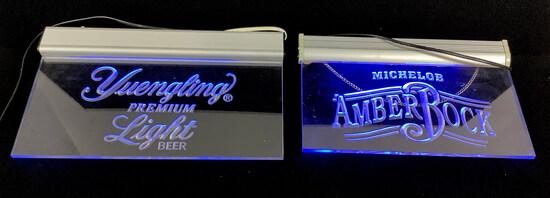 (2) Amber Rock & Yuengling Illuminated Bar Signs