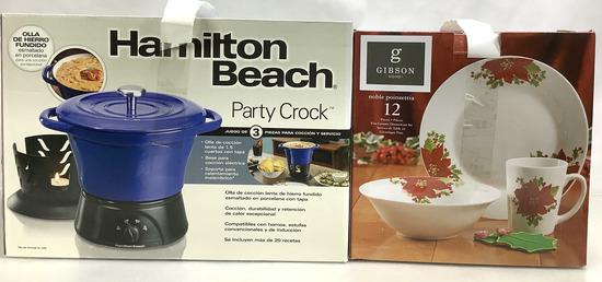 (2pc) Party Crock & 12 Piece Poinsettia Dish Set