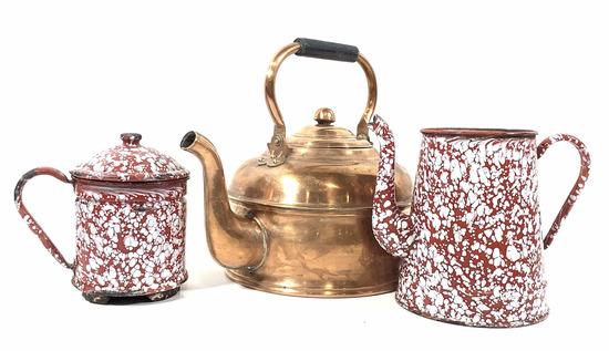 Vintage Enamel Sponge Wear, Copper Teapot