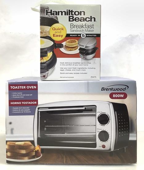 (2pc) Breakfast Sandwich Maker & Toaster Oven
