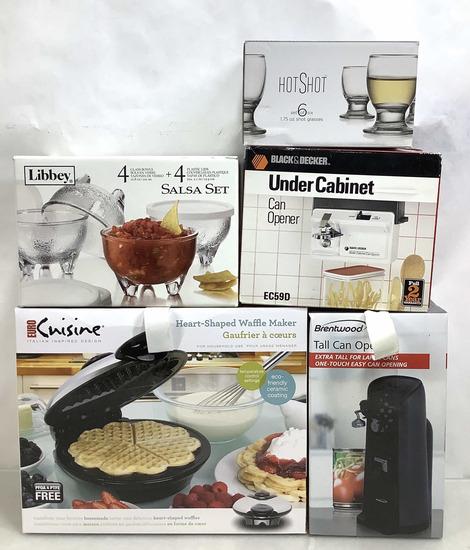 (5pc) Waffle Maker, Can Openers & Salsa Set