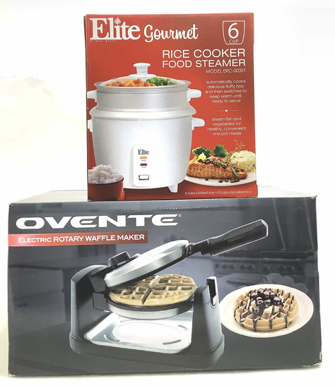 (2pc) Rice Cooker & Electric Rotary Waffle Maker