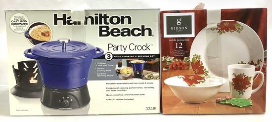 (2pc) Party Crock & 12 Set Poinsettia Dish Set