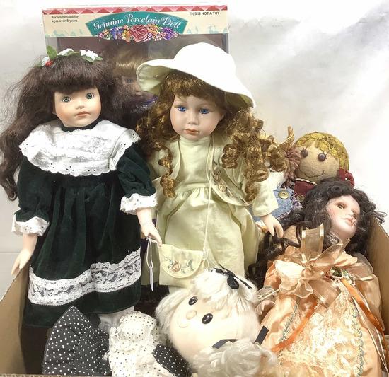 Vintage Porcelain & Cloth Dolls