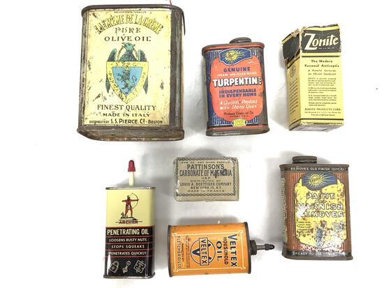 (7pc) Vintage Oil Tin Cans