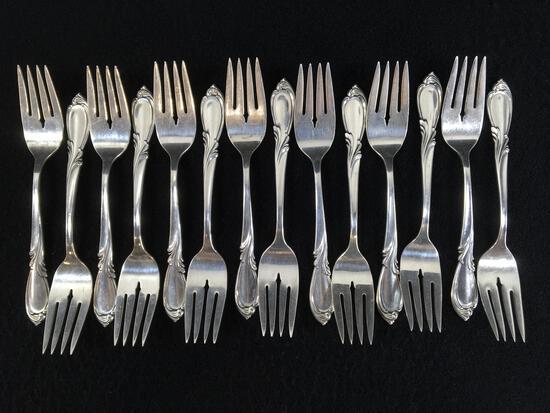 (14) International Sterling Silver Desert Forks