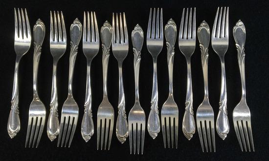 (14) International Sterling Silver Dinner Forks
