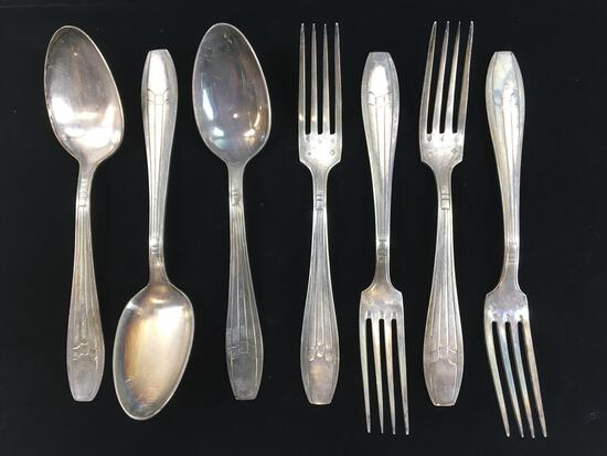 (7) Russian Sterling Silver Forks & Spoons