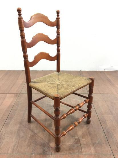 Vintage Ladder Back Rush Seat Chair