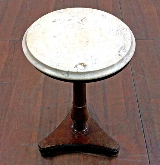 Traditional Marble Top Pedestal Lamp Table