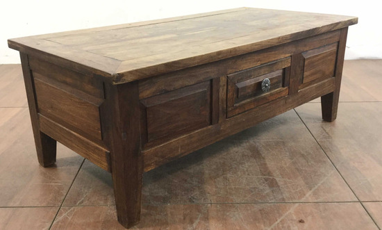 Vintage Rustic Oak Coffee Table With Single Drawer
