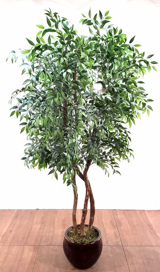 92in Glazed Pot & Planted Faux Tree
