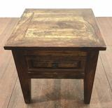 Vintage Rustic Oak End Table
