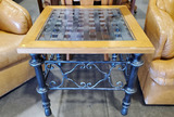 Distressed Wood & Wrought Iron Glass Top End Table