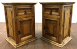 Pair Of Rustic Mexican Mesquite Commode Cabinets