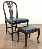 Vintage Faux Leather Chair With Footstool