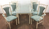 7pc Contemporary Beveled Glass Top Dining Group