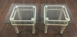 Pair Contemporary Style Beveled Glass Top Tables