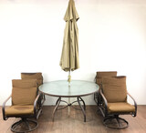 6pc Patio Set With Table, Umbrella & Chairs