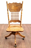 Antique Carved Oak Swivel Desk Chair