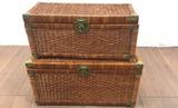 (2) Lidded Wicker Storage Baskets