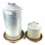 Pair Vintage Galvanized Steel Poultry Feeders