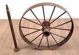 33in Antique Cast Iron Wagon Wheel & Axle