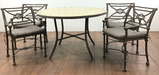 Contemporary Faux Stone Top Patio Table