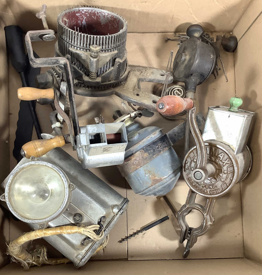 Assortment Of Vintage Grinders, Lights, Parts