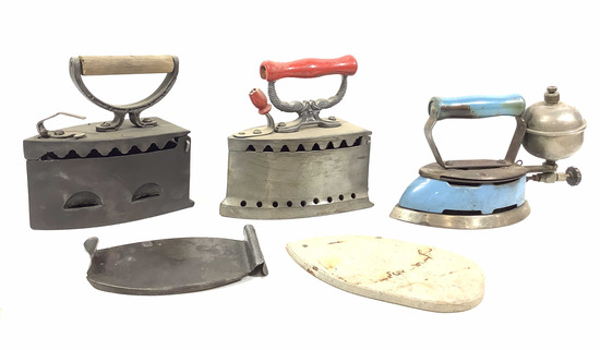 (3pc) Vintage Charcoal Irons, Ironing Box
