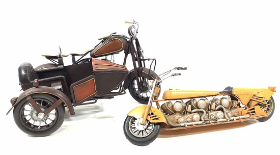 Pair Of Hand Painted Cast Motorcycle Decor