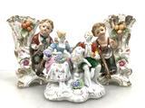 (3 Pc) Victorian Style Porcelain Vases & Figures